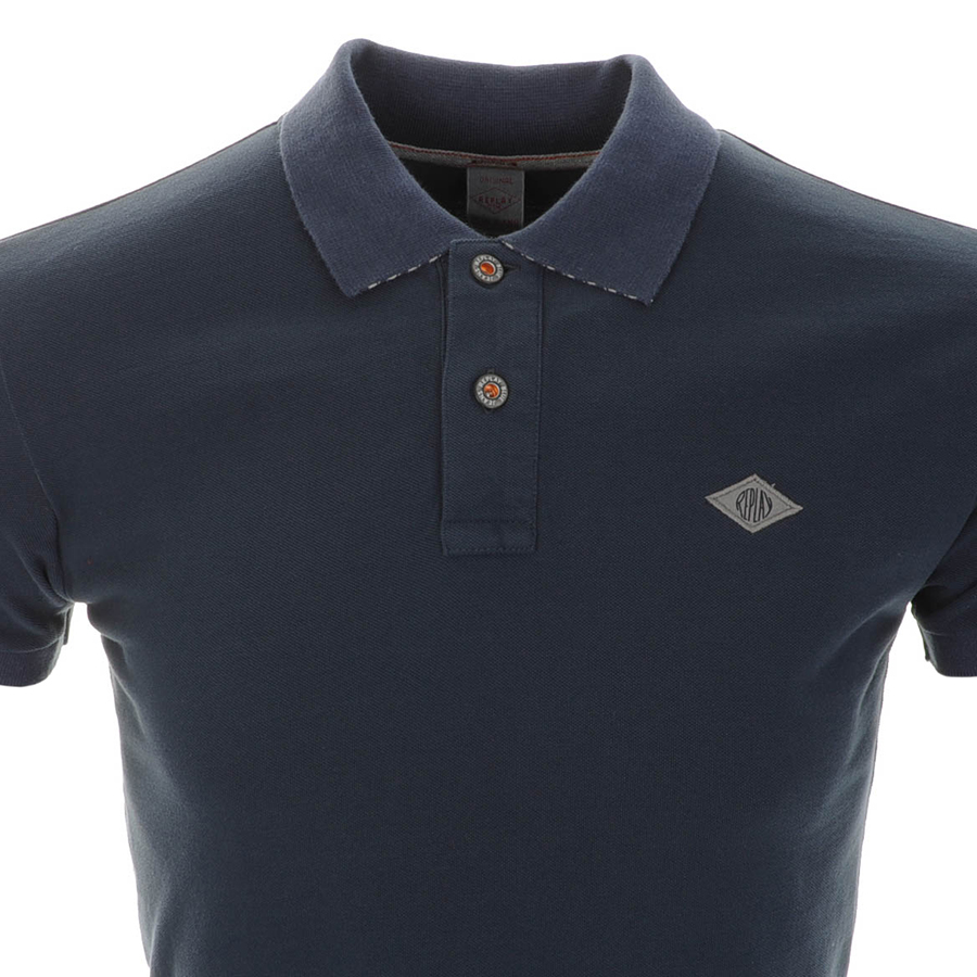 Replay replay blue jeans logo polo t shirt navy mens for Replay blue jeans t shirt