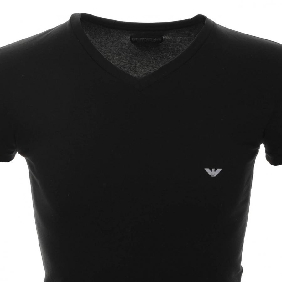 Emporio armani underwear v neck stretch t shirt in black for Black armani t shirt