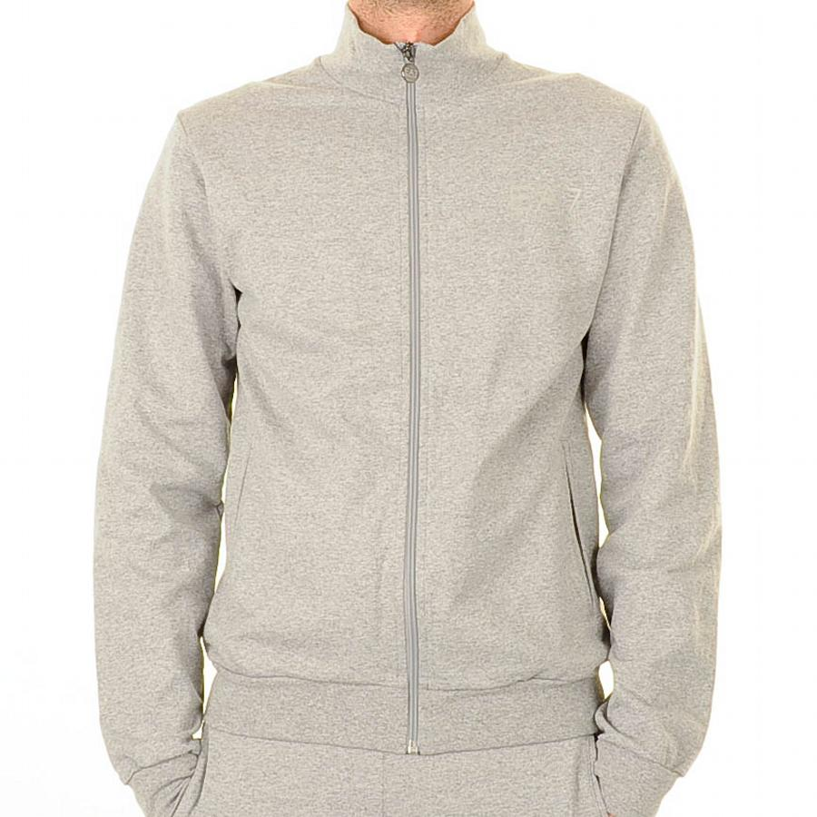 Emporio Armani EA7 Knit Tracksuit In Grey Marl, A full front zip fastening ...
