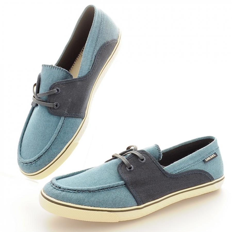 Diesel Malory Deck Style Loafer Shoes in Blue Nights Navy, Slip on design ...