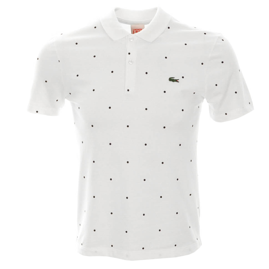 lacoste lacoste live polka dot polo t shirt white mens. Black Bedroom Furniture Sets. Home Design Ideas