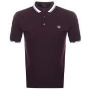 Fred Perry Contrast Tipped Polo T Shirt Burgundy