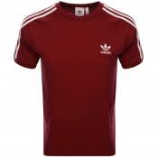 Adidas Originals 3 Stripes T Shirt Burgundy