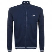 BOSS Green Full Zip Zomex Knit Jumper Navy