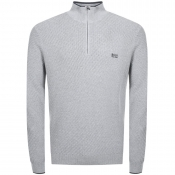 BOSS Green Zidney Half Zip Knitted Jumper Grey