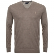 Ralph Lauren V Neck Jumper Brown