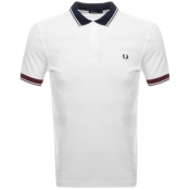 Fred Perry Ribbed Trim Pique Polo T Shirt White