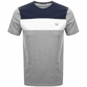 Fred Perry Colour Block Panel T Shirt Grey