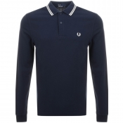 Fred Perry Long Sleeved Tipped Polo T Shirt Blue