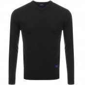 Armani Jeans Knitted V Neck Jumper Black