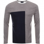 Armani Jeans Knitted Colour Block Jumper Brown