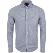 Armani Jeans Check Custom Fit Shirt Navy