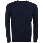 Armani Jeans Knitted Crew Neck Eagle Jumper Navy