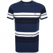Fred Perry Multi Striped T Shirt Carbon Navy