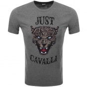 Just Cavalli Cheetah Logo T Shirt Grey
