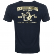 True Religion Metallic Buddah Logo T Shirt Navy