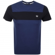 Fred Perry Textured Panel T Shirt Navy