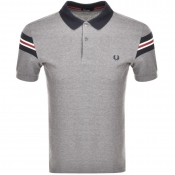 Fred Perry Bomber Sleeve Polo T Shirt Grey