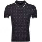 Fred Perry Square Print Polo T Shirt Navy