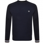 Fred Perry Crew Neck Pique Knit Jumper Navy