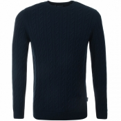 Barbour Cashmere Cable Knit Crew Neck Jumper Navy