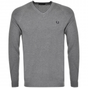 Fred Perry Tipped V Neck Jumper Grey
