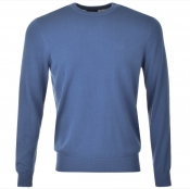 Armani Jeans Knitted Crew Neck Jumper Blue