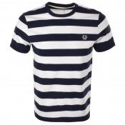 Fred Perry Striped Ringer T Shirt Navy