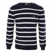Lacoste Crew Neck Striped Jumper Navy