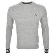 Fred Perry Crew Neck Pique Knit Jumper Grey