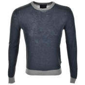 Armani Jeans Contrast Knitted Jumper Navy