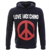 Moschino Hooded Peace Jumper Navy