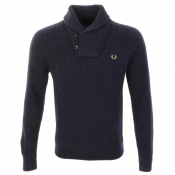 Fred Perry Fishermans Shawl Collar Jumper Navy