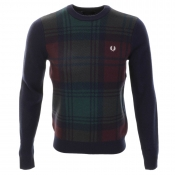 Fred Perry Needlepunch Crew Neck Knit Jumper Navy