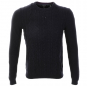 Ted Baker Cable Knit Crew Neck Jumper Navy