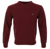 Gant Solid Lambswool Crew Neck Jumper Red