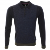 Ted Baker Panelled Polo Neck Jumper Blue