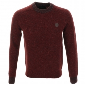 Fred Perry Donegal Knit Crew Neck Jumper Red