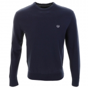 Fred Perry Crew Neck Pique Jumper Navy