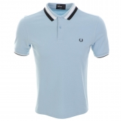 Fred Perry Textured Bold Tipped Polo T Shirt Blue