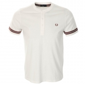 Fred Perry Henley T Shirt White