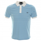 Fred Perry Stripe Polo T Shirt Blue