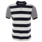 Fred Perry Mixed Stripe Polo T Shirt Navy