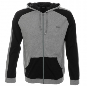 HUGO BOSS Black Full Zip Hooded Jumper Grey Marl