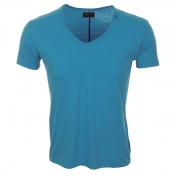 Replay V Neck T Shirt Blue