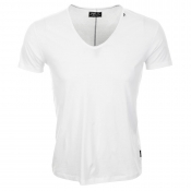Replay V Neck T Shirt White