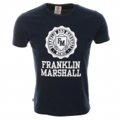 Franklin Marshall Logo T Shirt Navy