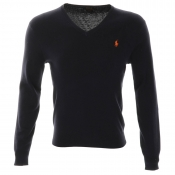Ralph Lauren V Neck Slim Fit Jumper Hunter Navy