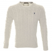 Ralph Lauren Crew Neck Cable Knit Jumper Grey