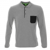 HUGO BOSS Green Plisy 1 Polo T Shirt Grey Marl